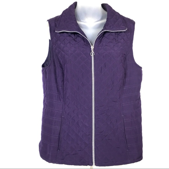 Christopher & Banks Jackets & Blazers - Christopher & Banks purple quilted vest coat M